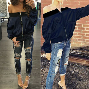 Women's Cold Off Shoulder Bomber Jacket Coat Thin Zip Up Bike Outwear Fashion