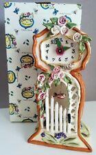 Rare Heather Goldminc Blue Sky Garden Gate Clock & Tealight Holder Clock - Nib