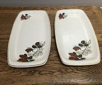 Vintage Romanian Sandwich Plates. Red Rose Design 19x15.5 Cm