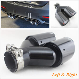 2 Pcs Carbon Fiber + Stainless Steel Car Exhaust Tip Dual Pipe ID 2.5'' OD 3.5''