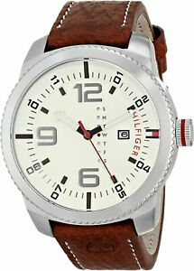 New Tommy Hilfiger Brown Leather Strap Oversize Mens Watch 1791013
