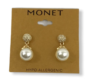 NWT Monet Hypo-allergenic pearl tower earrings