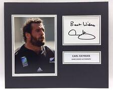 RARE Carl Hayman New Zealand Rugby Signed Photo Display + COA ALL BLACKS