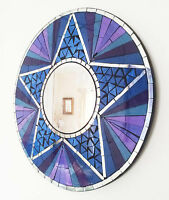 Round purple silver mosaic wall mirror 40cm hand made in Bali-NEW