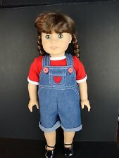 2 piece Outfit Jean Overalls & Red T-shirt Designed for 18 Inch Dolls