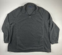 Croft & Barrow Men's 1/4 Zip Fleece Pull Over Jacket Long Sleeve Gray 3XB