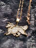 Large Sheltie Gaiting 14K Gold And Pave Diamond Necklace Virginia Perry Gardiner