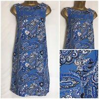 Next Blue Print Linen Blend Pocket Shift Dress 8 - 26 Petite,Reg &Tall (n-88h)