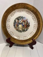 """REDUCED Crest-O-Gold Sabin Plate Warranted 22K Courting Scene, 10 1/4"""""""