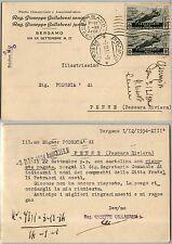 REGNO-Coppia 15c(367) Medaglie al valore-Cartolina Bergamo->Penne 1.12.1934