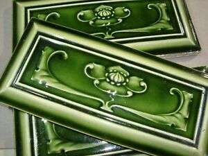 Set of 3 Relief Molded Green Original period antique tiles Art Nouveau Majolica