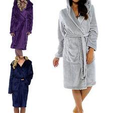 Women Hooded  Bath Robes Casual Nightwear Sleepwear Fleece Lightweight Home Gift