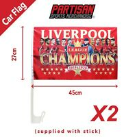 2 X Liverpool League Champions 2019/2020 Car Flag Gift Souvenir (Stick Included)
