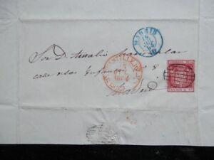 CARTA AÑO 1854 BAEZA DE CASTILLEJO SEGOVIA RARO Y LUJO PARRILLA SOBRE 6 CUARTOS