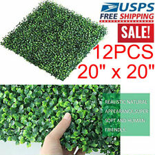12pcs Artificial Boxwood Mat Wall Hedge Decor Privacy Fence Panel Grass 20x20