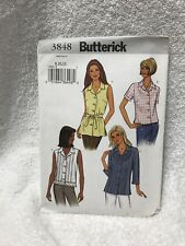 Butterick 3848 8,10,12 Misses Miss Petite Top Belt  Sewing  Pattern