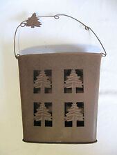 RUSTIC TREES CABIN HANGING PIERCED METAL WALL BASKET FLAT TO WALL BROWN