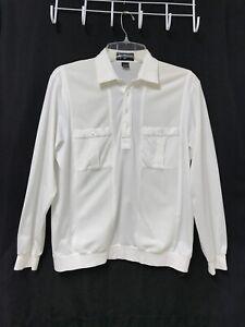 Vintage ALAN STUART Waistband Shirt Medium Ivory White Long Sleeves Pockets