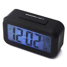 Lcd digital alarme horloge lumière led snooze/rétro-éclairage chiffres heure date calendrier uk