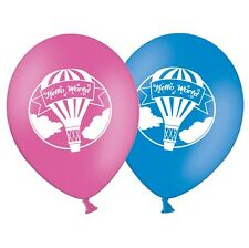 """Hello World - 12"""" Printed Latex Dark Pink & Blue Assorted Balloons Pack of 20"""