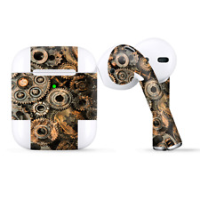 Skins Wraps compatible for Apple Airpods  Old Gears Steampunk Patina