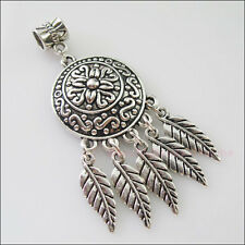 2 Charms Silver Tone Round Flower Leaves Dangle Bail Beads Fit Bracelets 23x60mm