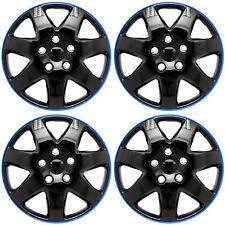 "4PC Set of 16"" ICE BLACK / BLUE TRIM Hub Caps Skin Rim Cover for Steel Wheel Cap"