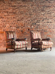 Antique Howard & Sons Open Armchairs  Matching Pair Circa 1850
