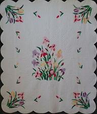 New listing Vintage Applique Iris Garden Kit Quilt 86x73