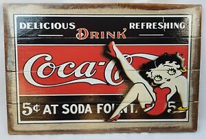 Rustic Wooden SIGN Betty Boop, Coca Cola 4 Retro Designs to Choose