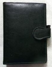 QUALITY HANDMADE FILOFAX STYLE FINE BLACK LEATHER POCKET ORGANISER UK
