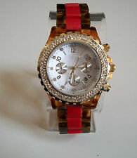 Gold Finish Red/Tortoise Shell Designer Inspired style Bling Date Fashion Watch