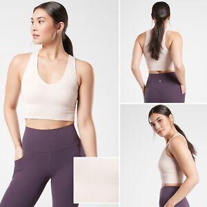 NWT Athleta Aurora Crop Rib Tank MEDIUM Veil Grey V-neck Chafe-free Yoga Top