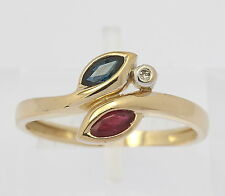 ♦♦Ring in aus 585er 14kt Gelb Gold mit Rot Topas Saphir Safir Diamant Goldring♦