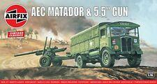 """New Airfix 1:76th Scale """"Vintage Classics"""" AEC Matador & 5.5"""" Gun Model Kit."""