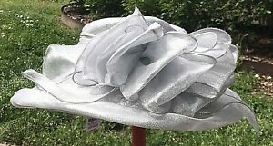 Tuscany Fine Millinery Metallic Silver Church Derby Hat One Size Polyester  New