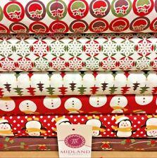 Rosso Natale a Tema Personaggi 100% Cotone Patchwork & Hobby Tessuto 114cm