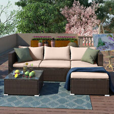 More details for rattan garden furniture outdoor 5pcs patio sofa set chairs table (rupert brown)