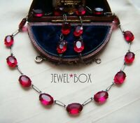 ANTIQUE ART DECO RARE RUBY RED  PASTE OPEN BACK RIVIERE VINTAGE NECKLACE