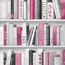PINK FASHION LIBRARY BOOKCASE WALLPAPER - MURIVA 139501 GLITTER BOOKS