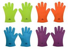 Silicone BBQ Gloves Heat Resistant Oven Mitts Grilling Or Cooking Use As Trivets