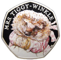 COLOURED MRS TIGGY-WINKLE PETER RABBIT's FRIEND RARE 50p UNCIRCULATED COIN 2016