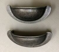 "Lot of 2 Vintage Solid Brass 3"" Cup Drawer Pull NOS"