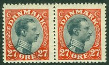 DENMARK : 1918. Scott #110 Pair, Fresh & Very Fine, Mint Never Hinged. Cat $150+