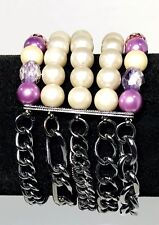 Multiple Strand Pearl Purple Bead And Charcoal Chain Bracelet