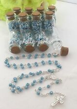 12PC Baptism Communion Favors Party Glass Bottle Rosary Blue Recuerdos Bautizo