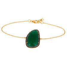 Green Aventurine Gemstone 925 Sterling Silver CZ Chain Bracelet Jewelry