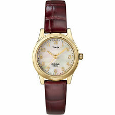 Timex T21693, Women's Brown Leather Strap Watch, Indiglo, Mother of Pearl Dial