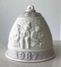 1987 Lladro Christmas Bell Ornament Lavender Kids in Snow Porcelain No Box