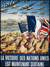 Vintage French WW2 Military Poster Certain Victory